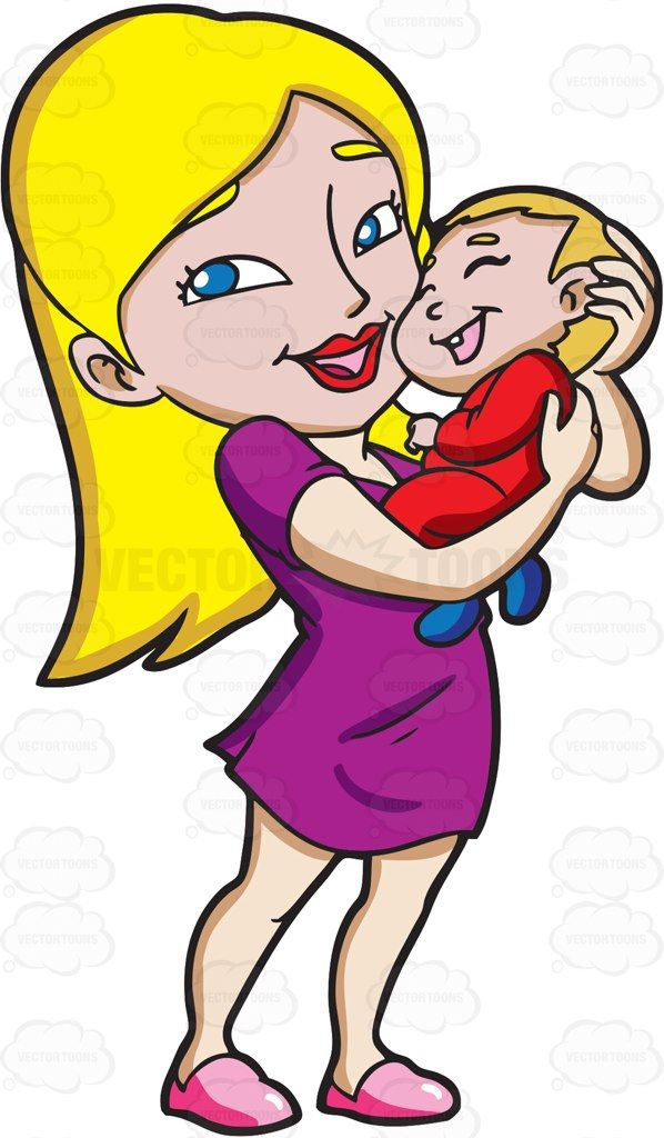 A Young Mom Smiles While Carrying Her Happy Child | Vector ...