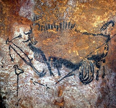 'wounded bison', lascaux cave art. i love love love cave art and how people try to interpret their meaning