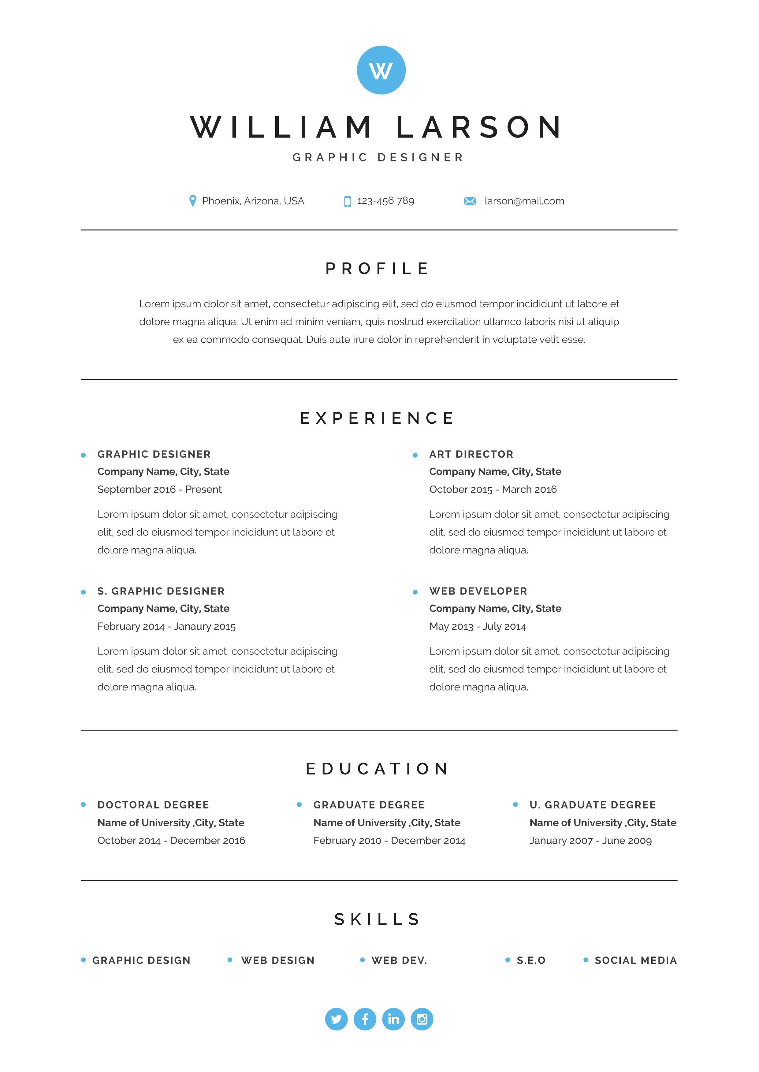 Minimal Resume | Title Block Exampls | Resume design