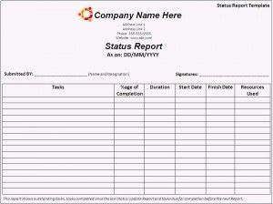 Status Report Template  AztemplatesOrg    Template