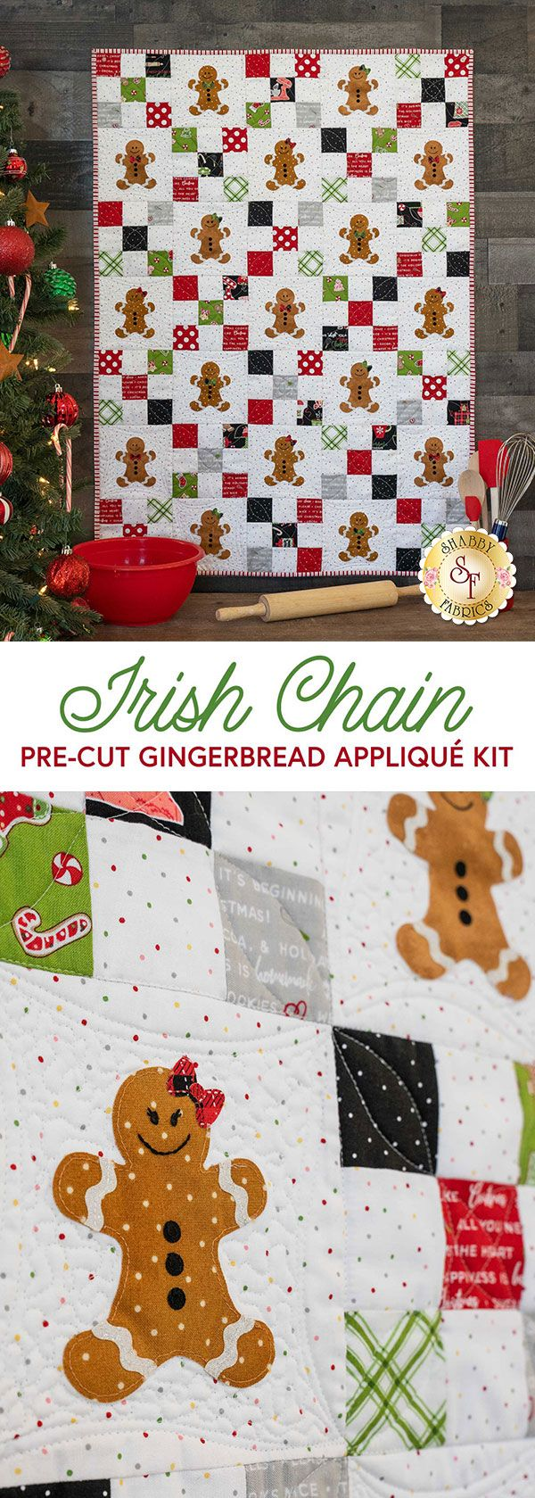 Irish Chain Precut Gingerbread Appliqué Kit - We Whisk You A Merry Christmas -   18 fabric crafts For Boys christmas gifts ideas