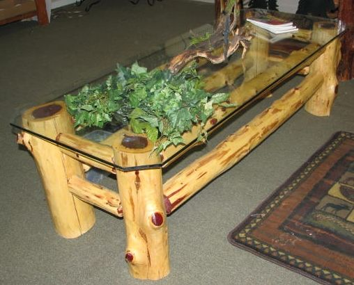 Cedar log coffee table glass moose cart for Log coffee table