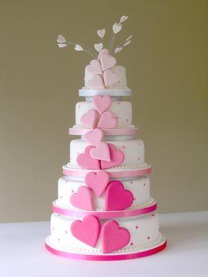 pink hearts wedding cake Valentines Wedding Cake winter wedding