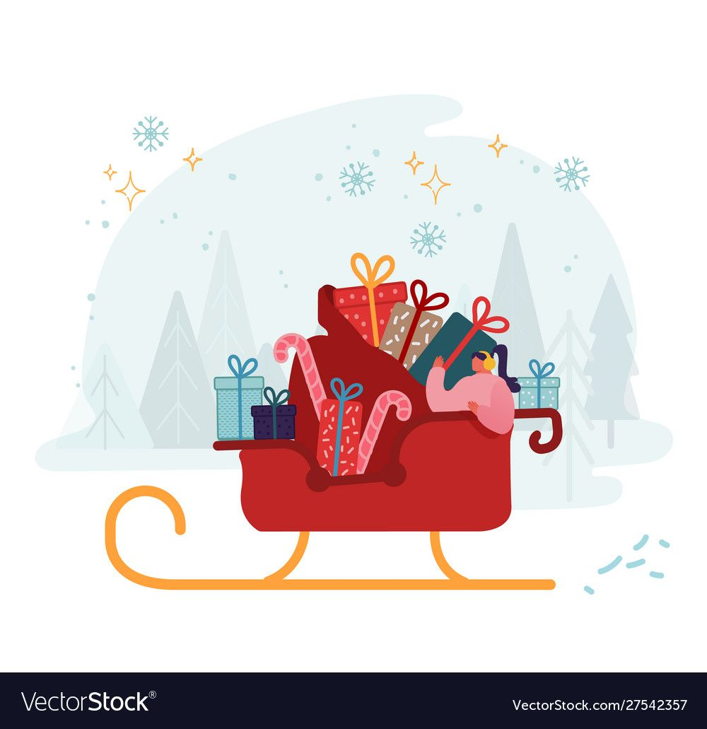 Woman riding in santa claus sleigh with huge sack Vector