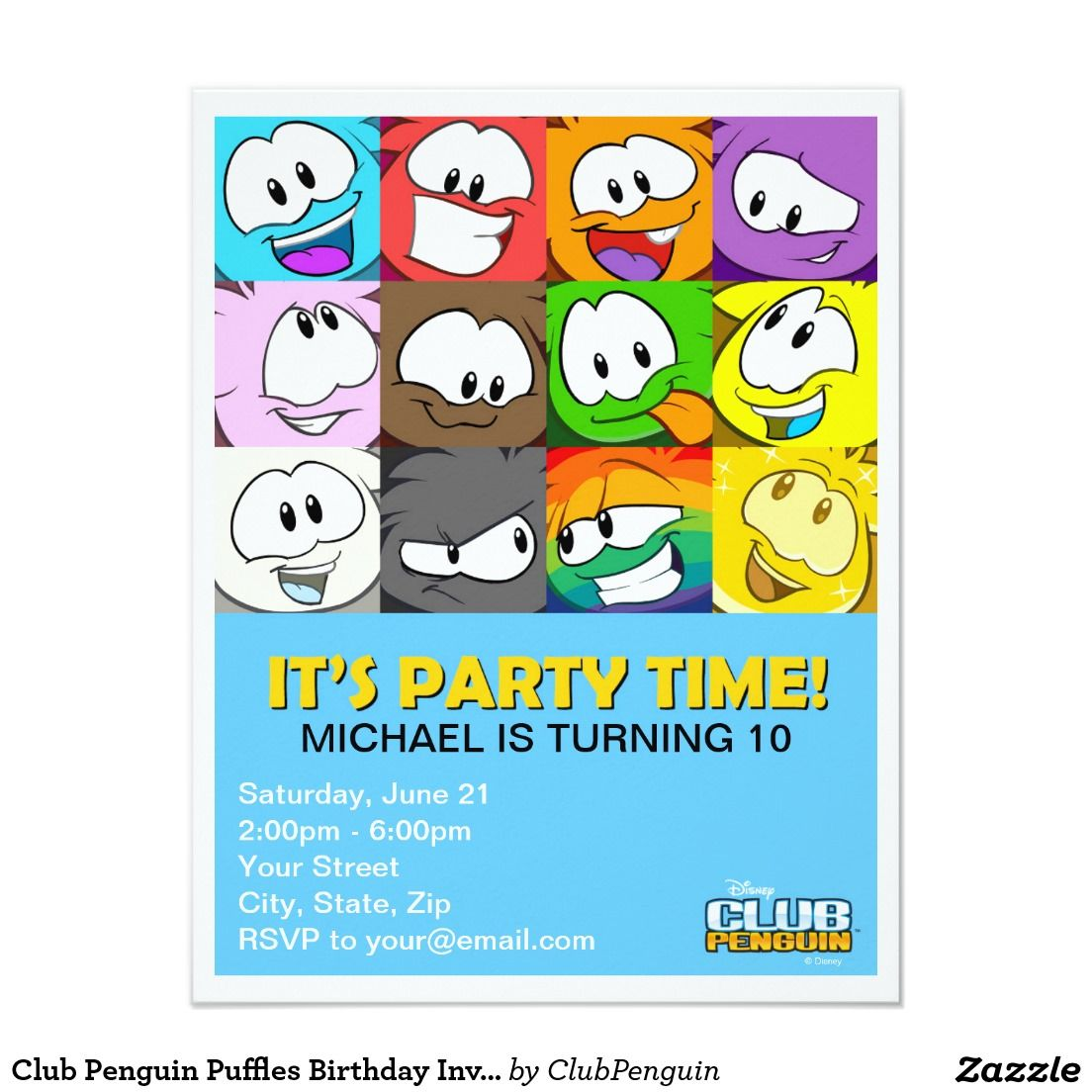 Club Penguin Puffles Birthday Invitation Customize This Club