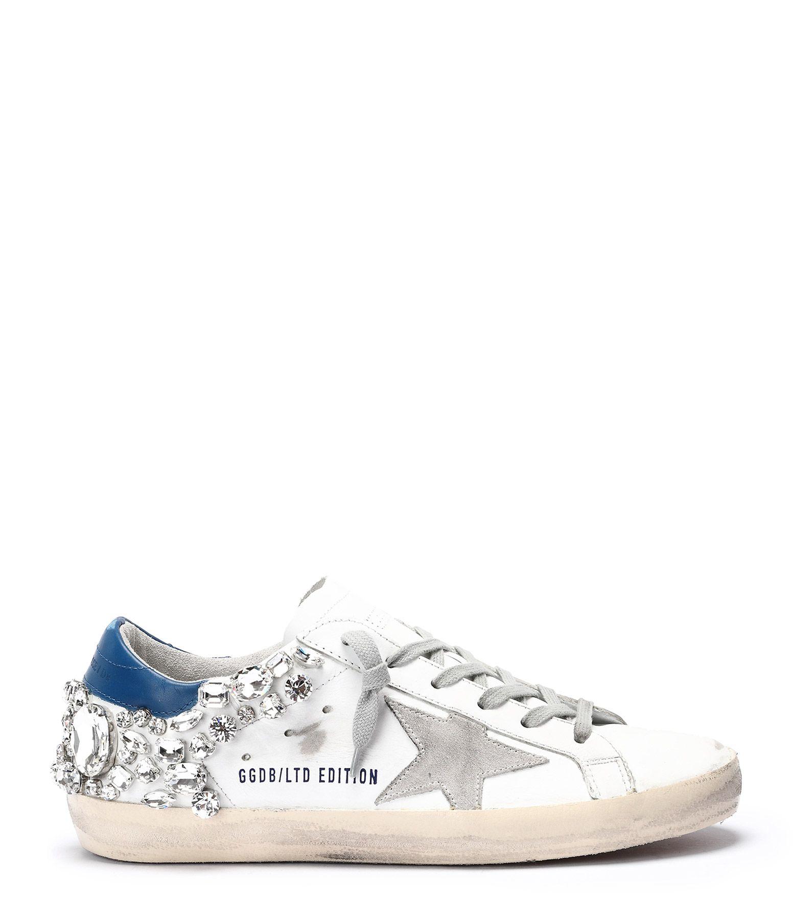 GOLDEN GOOSE Baskets Superstar Diamants Blanc Bleu Edition