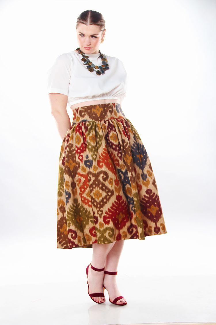 3ce9c6a890d80 JIBRI High Waist Tribal Print Flare Skirt