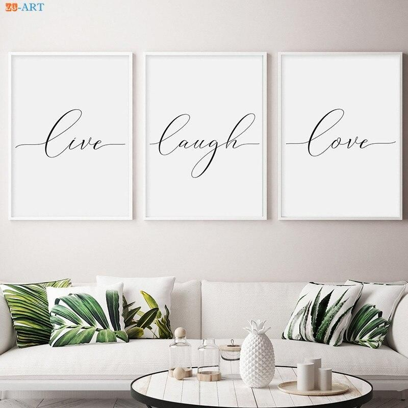 Live Laugh Love Canvas Poster Print Painting Minimalist Wall Art Wall Pictures for Living Room Nordic Decoration Home No Frame