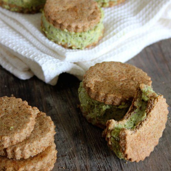 Homemade Pistachio Ice Cream Sandwiched Between Thin