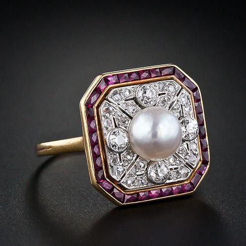 Edwardian Ruby, Diamond and Natural Pearl Ring - 30-1-1210 - Lang Antiques