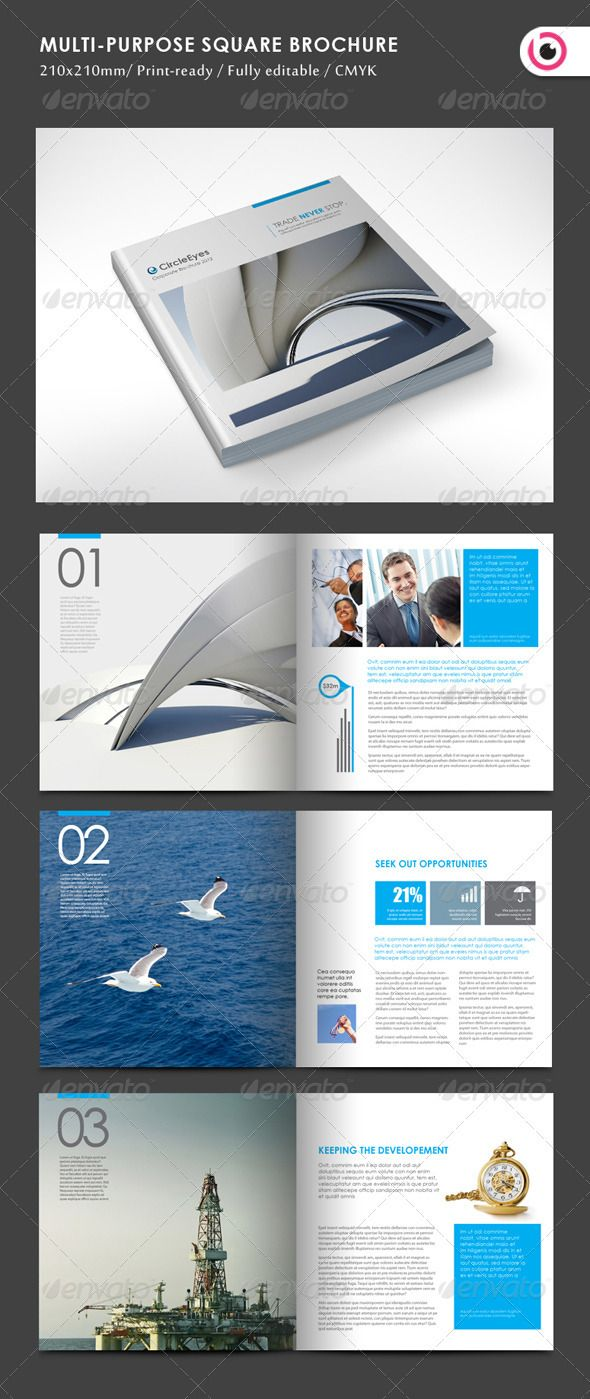 Multipurpose Square Brochure GraphicRiver Pages InDesign - Indesign templates brochure