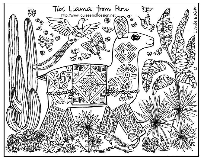 Animals For Other Countries Coloring Pages Social Peru Llama
