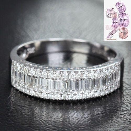 $1027: Baguette/Round DIAMOND Wedding Ring 14K WHITE GOLD 1.37ct