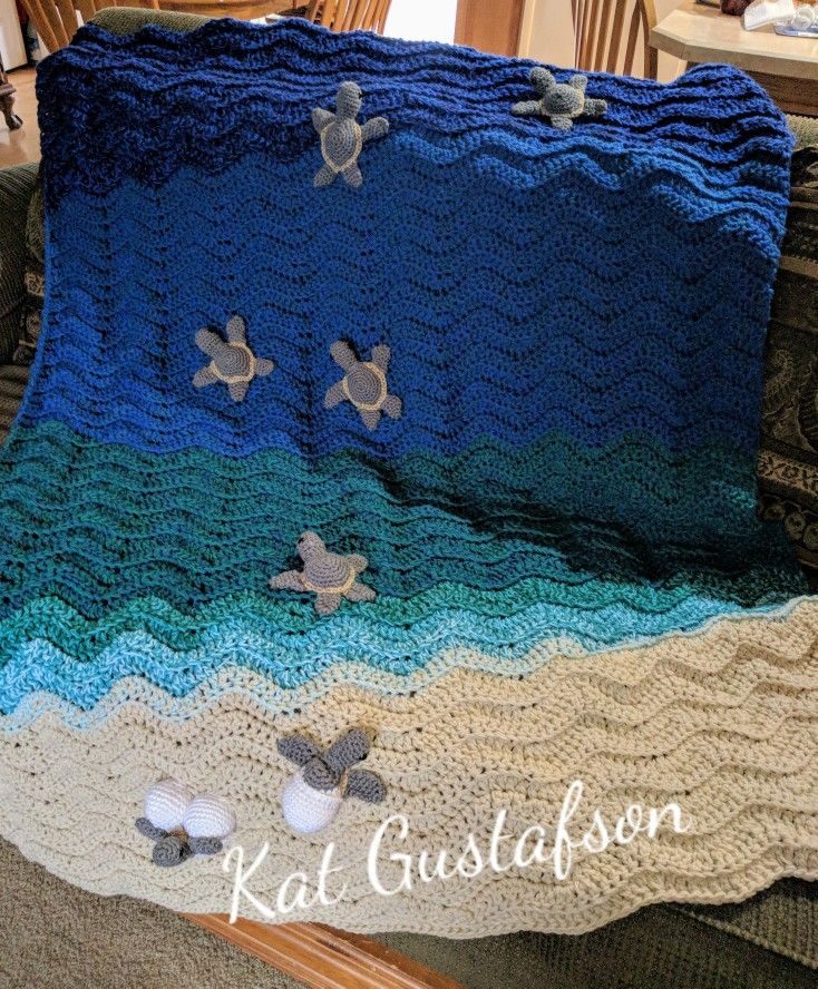"Custom order Sea Turtle ""Hatchlings"" blanket."