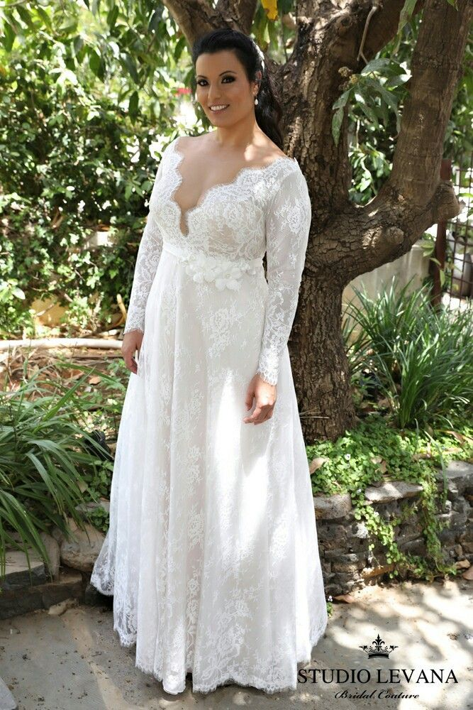 French lace long sleeves deep cleavage and a stunning for Plus size lace wedding dresses with sleeves