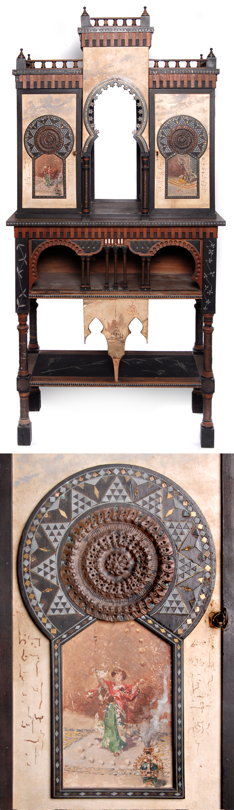 CARLO BUGATTI cabinet, c. 1900, Orientalist painted panels by Riccardo Pellegrini | SOLD $17,625 Germany 2008