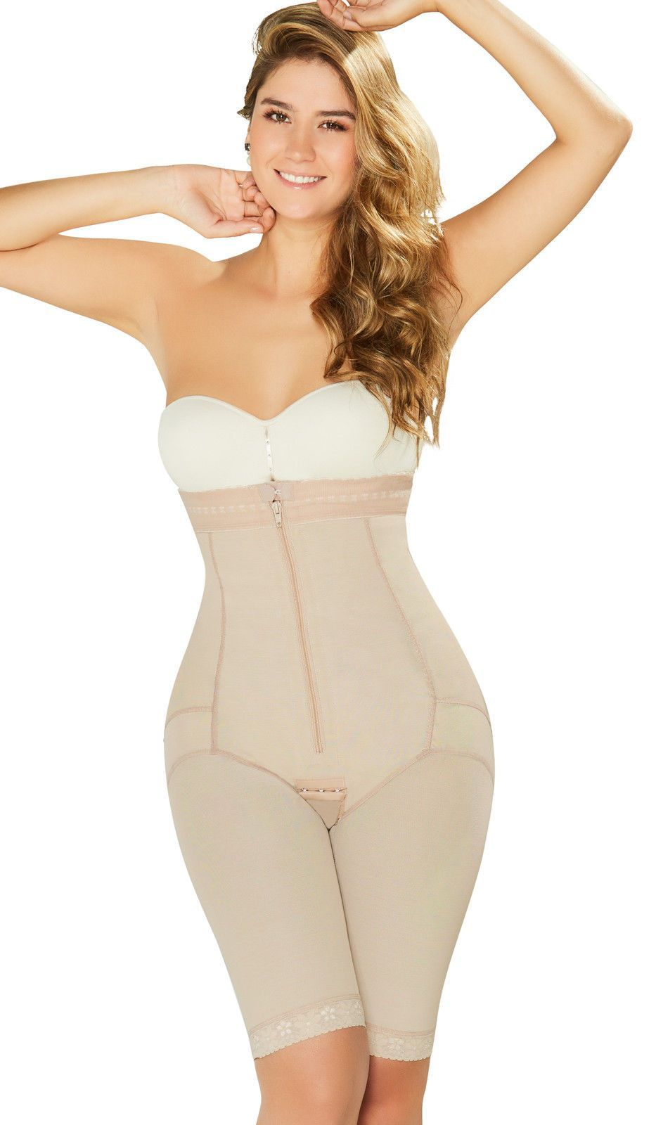 c2a4875985ee7 Fajas Diane   Geordi 2414 Colombiana Powernet Strapless Body Shaper With  Lace