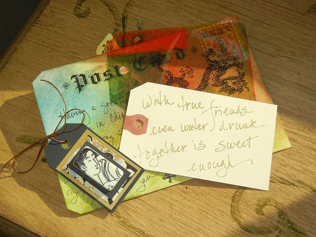 China postcard swap...Jan Armentrout to Kristi Knox Day...domino art tag...Chinese proverbs on back of art tags.