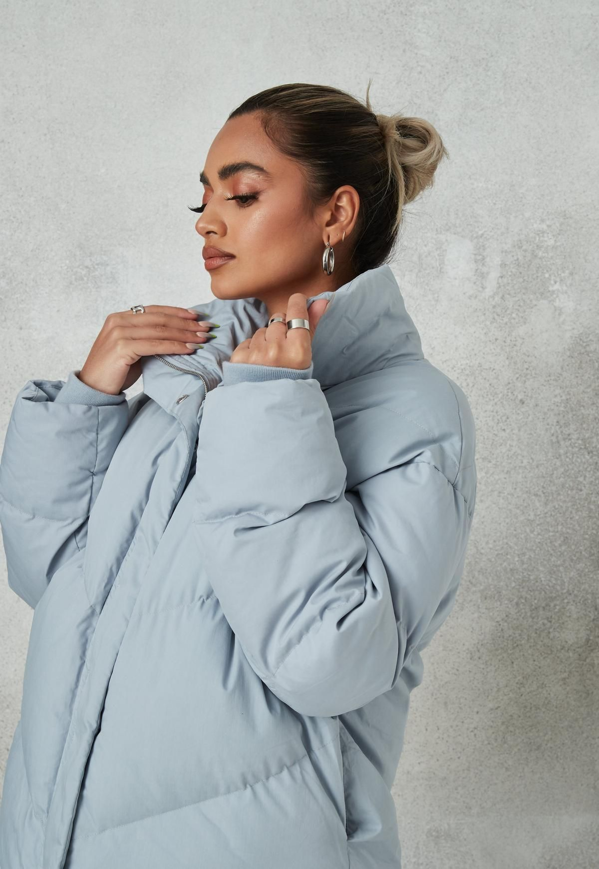 Blue Chevron Quilted Puffer Jacket Missguided Quilted Puffer Jacket Blue Chevron Jackets [ 1739 x 1200 Pixel ]