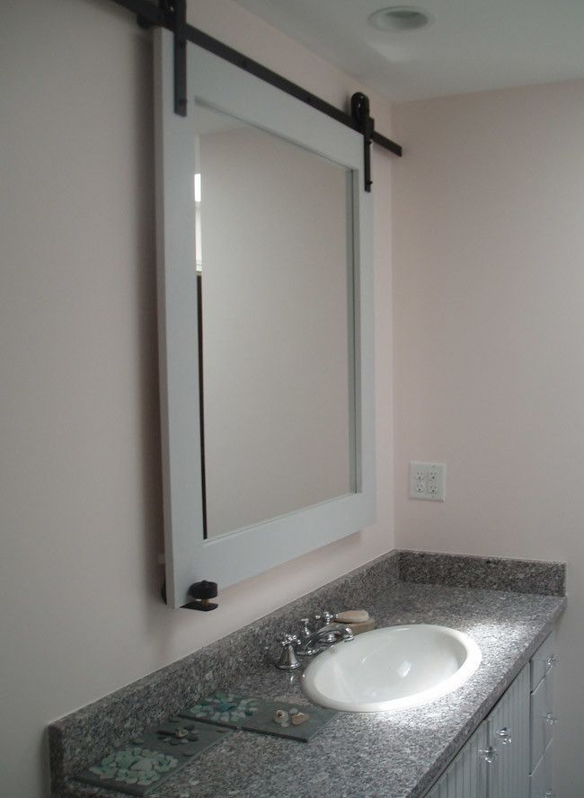 Sliding Barn Door Hardware Used On A Bathroom Mirror For Hidden Medicine Cabinet Storage This Is Bathroom Mirrors Diy Bathroom Mirror Storage Bathroom Mirror