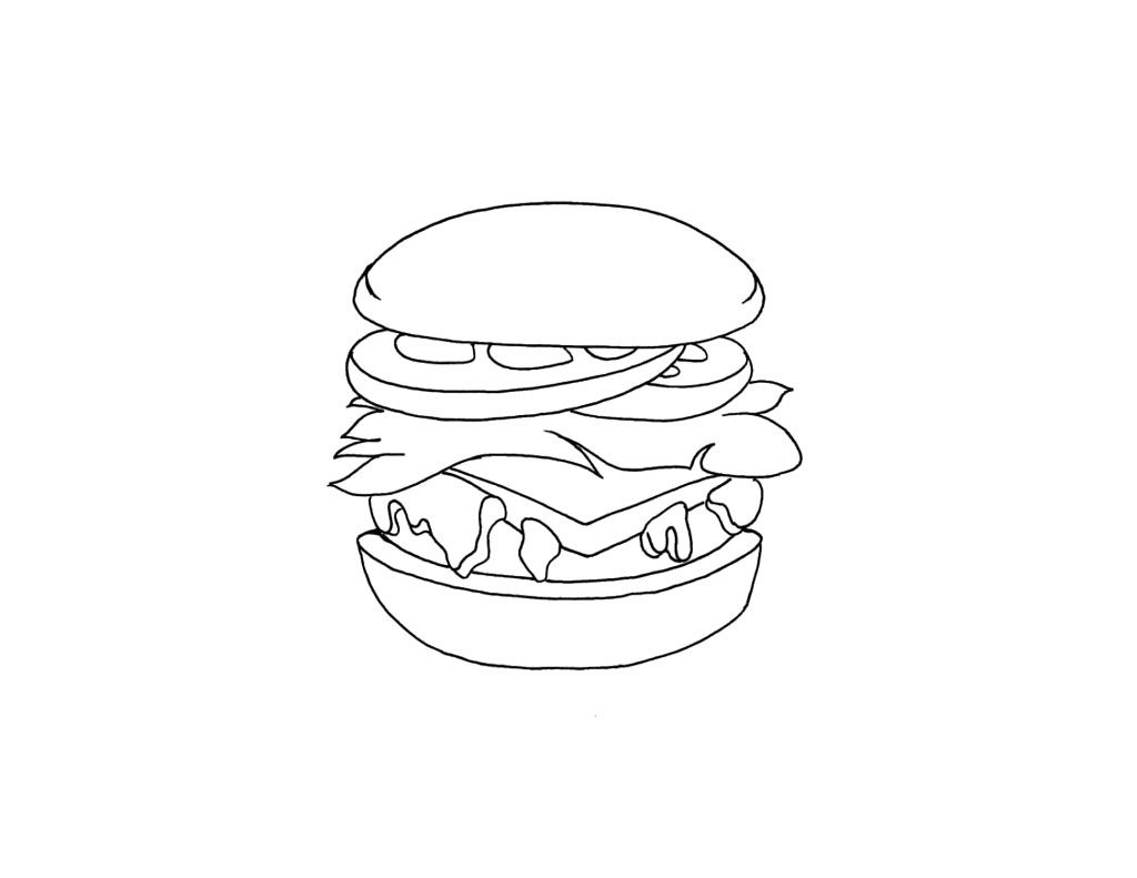 Junk Food Burger Coloring Page
