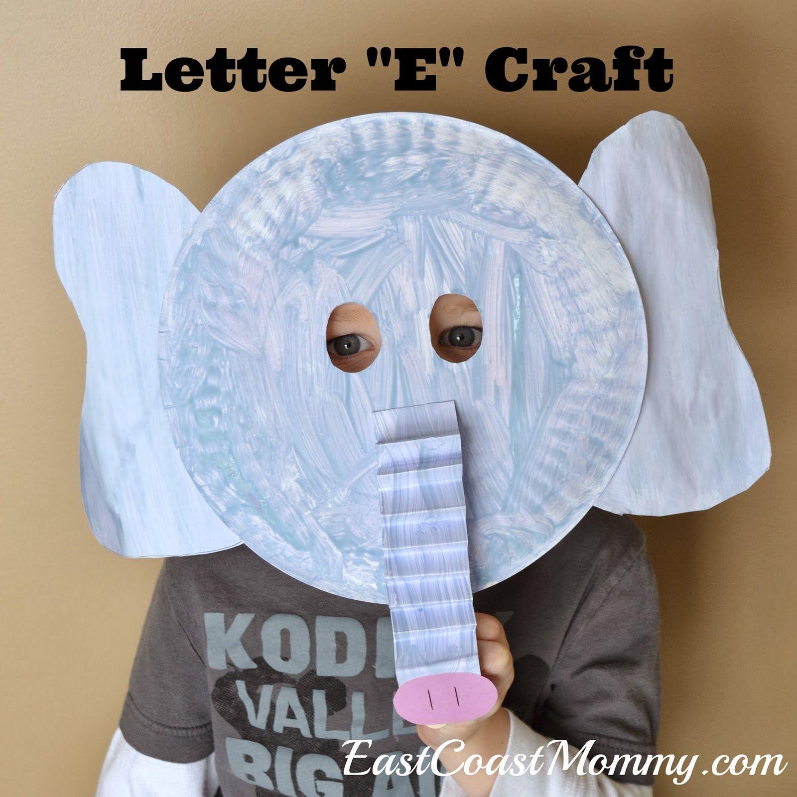 Alphabet crafts letter e elephant crafts east coast for E crafts for preschoolers