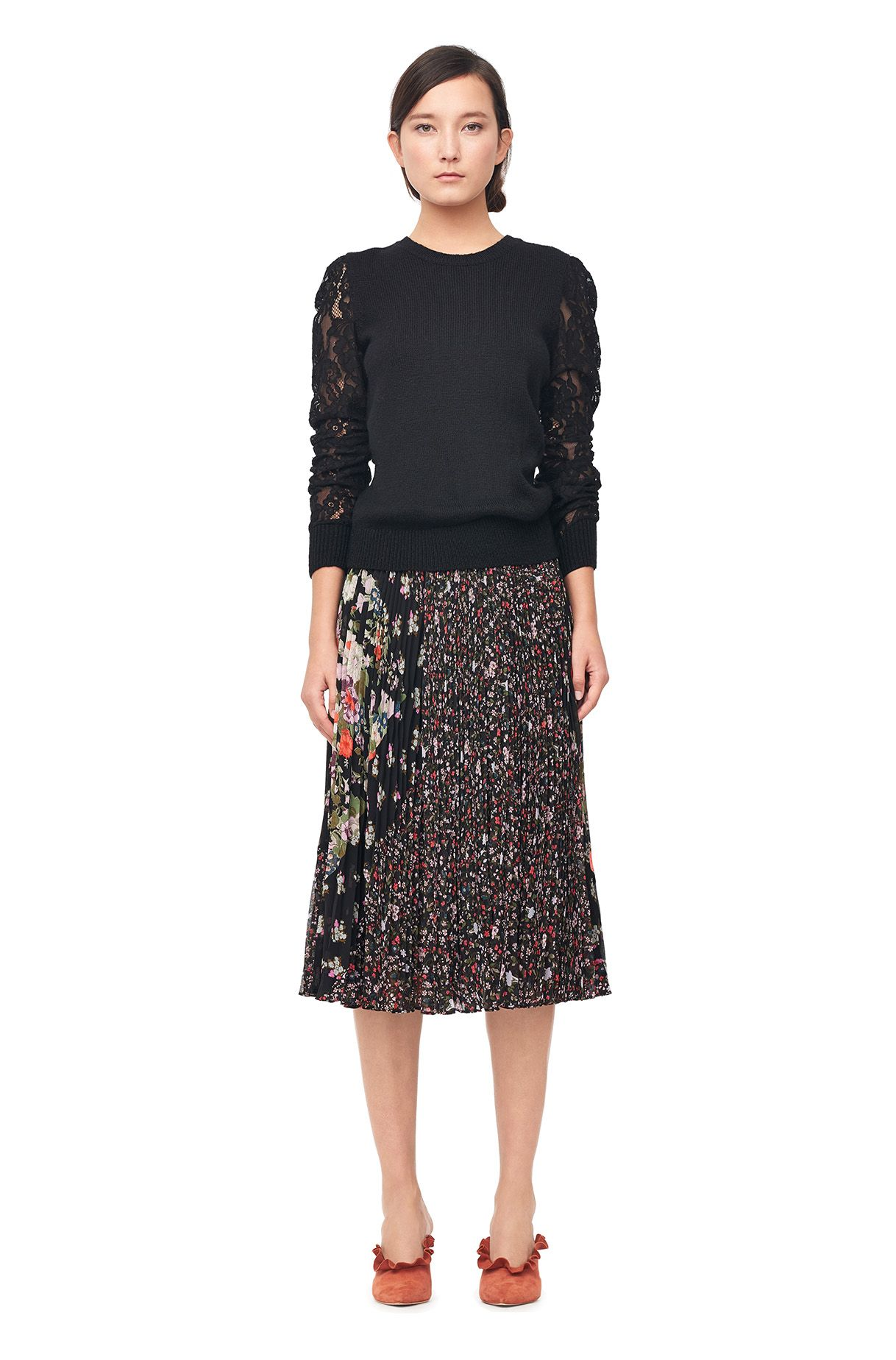 6af3aeb98e The Mixed Print Pleated Skirt offers a mix of fall florals and crisp,  textural pleats.