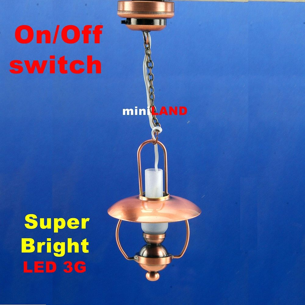 Copper Bright battery LED LAMP Dollhouse miniature light 1:12 on//off switch
