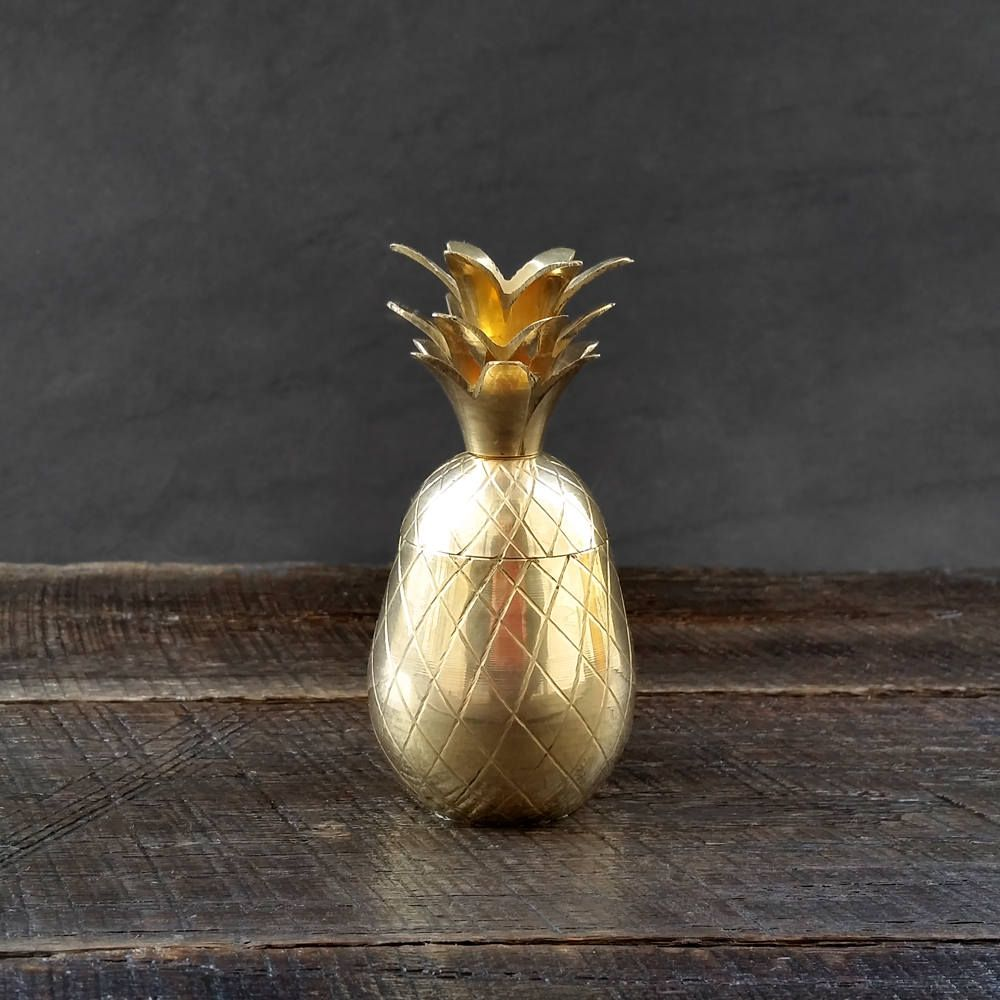 Small Brass Pineapple Trinket Box - Gold Pineapple - Tropical Decor - Beach Decor - Mid Century by TheCherryAttic on Etsy