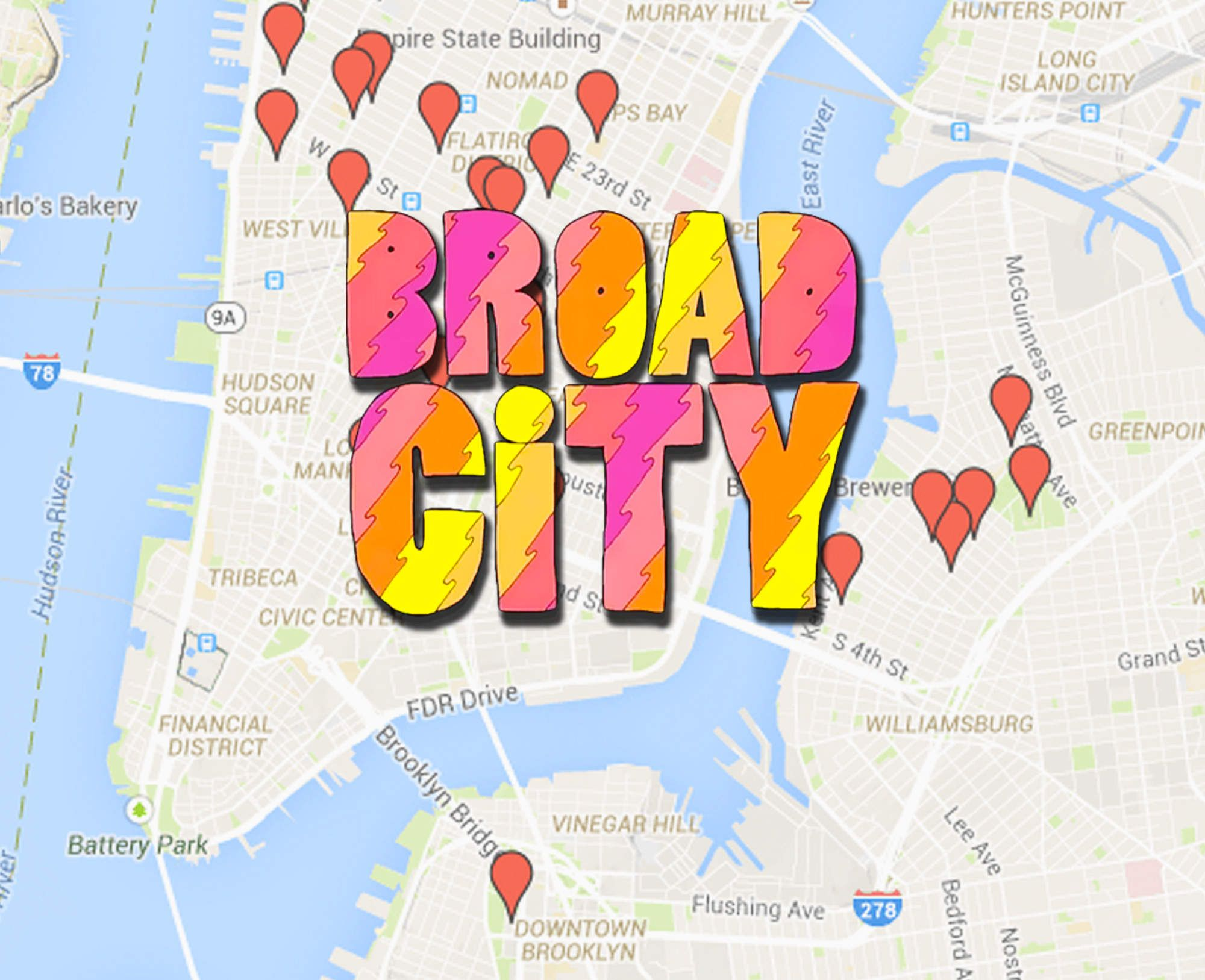 Everywhere You Can Actually Go From Broad City S Season 2 Mapped Nyc Map Broad City Nyc Trip