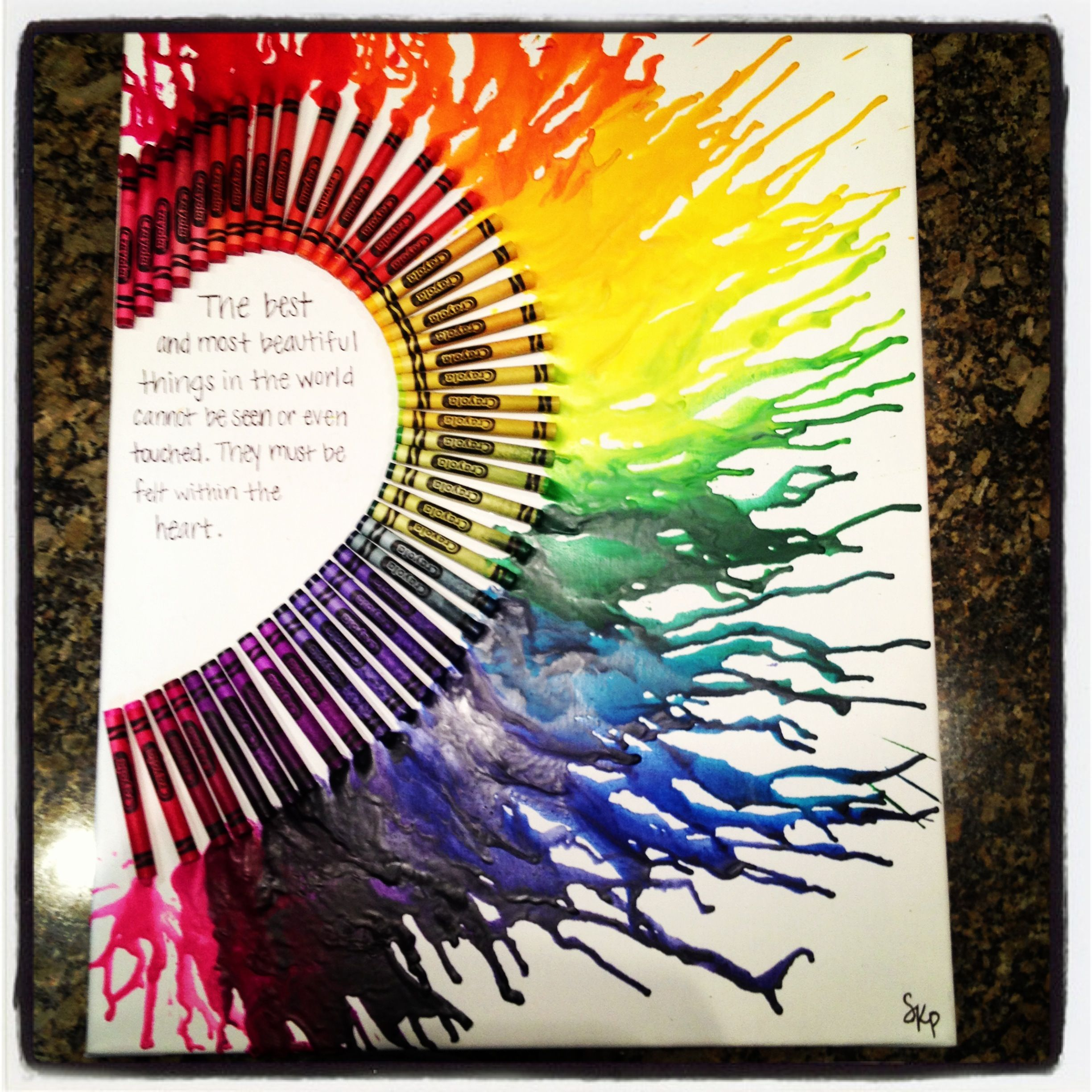 """25 Best Ideas About Homemade Birthday Presents On: Melted Crayon Canvas...half Heart--""""The Best And Most"""