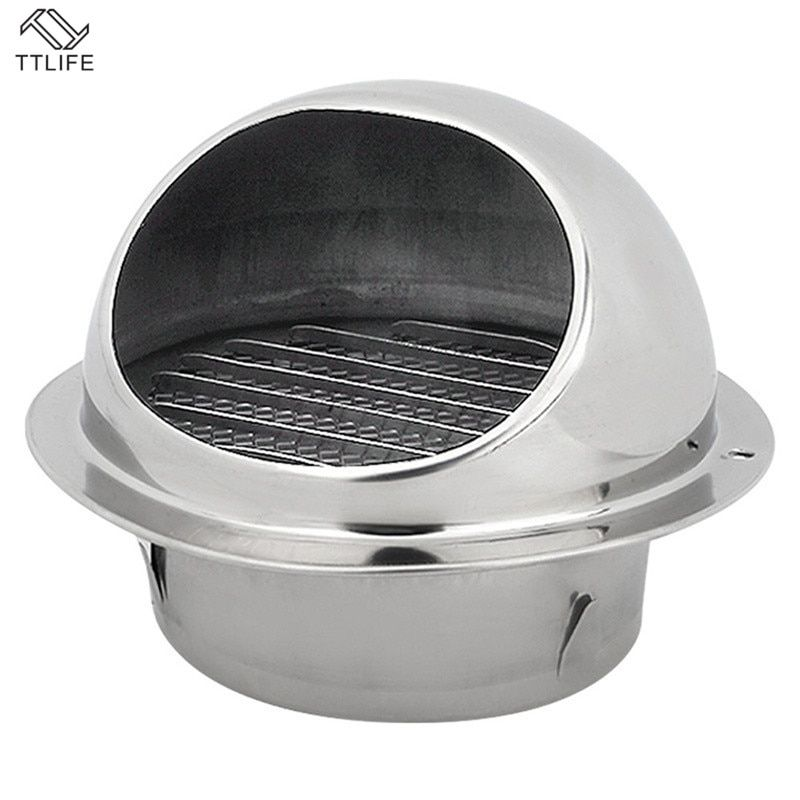 Stainless Steel Wall Ceiling Air Vent Ducting Ventilation Exhaust Grille Cover Outlet Heating Cooling Vents Cap Waterproof Ventilation Fan Steel Wall Exhaust Fan