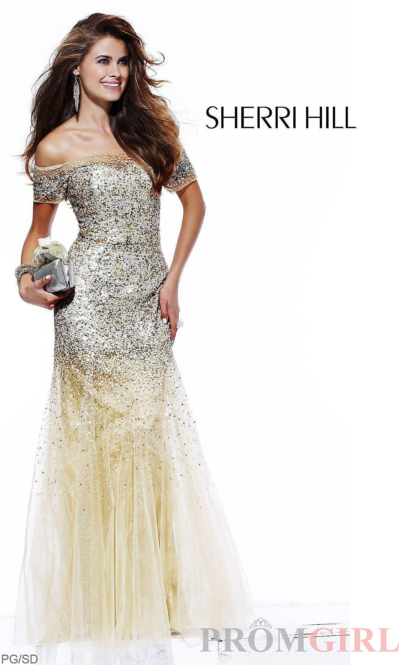Beaded Off-The-Shoulder Gold Evening Gown SH-2861