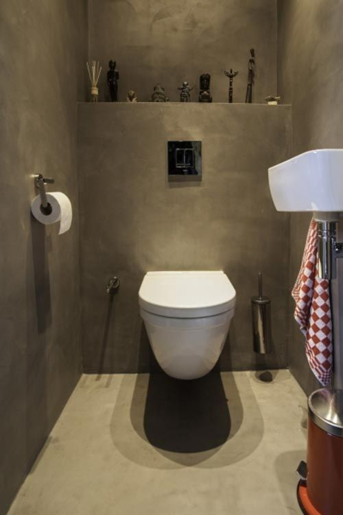 Beton cir in toilet interieur inrichting toilet pinterest - Muur wc ...