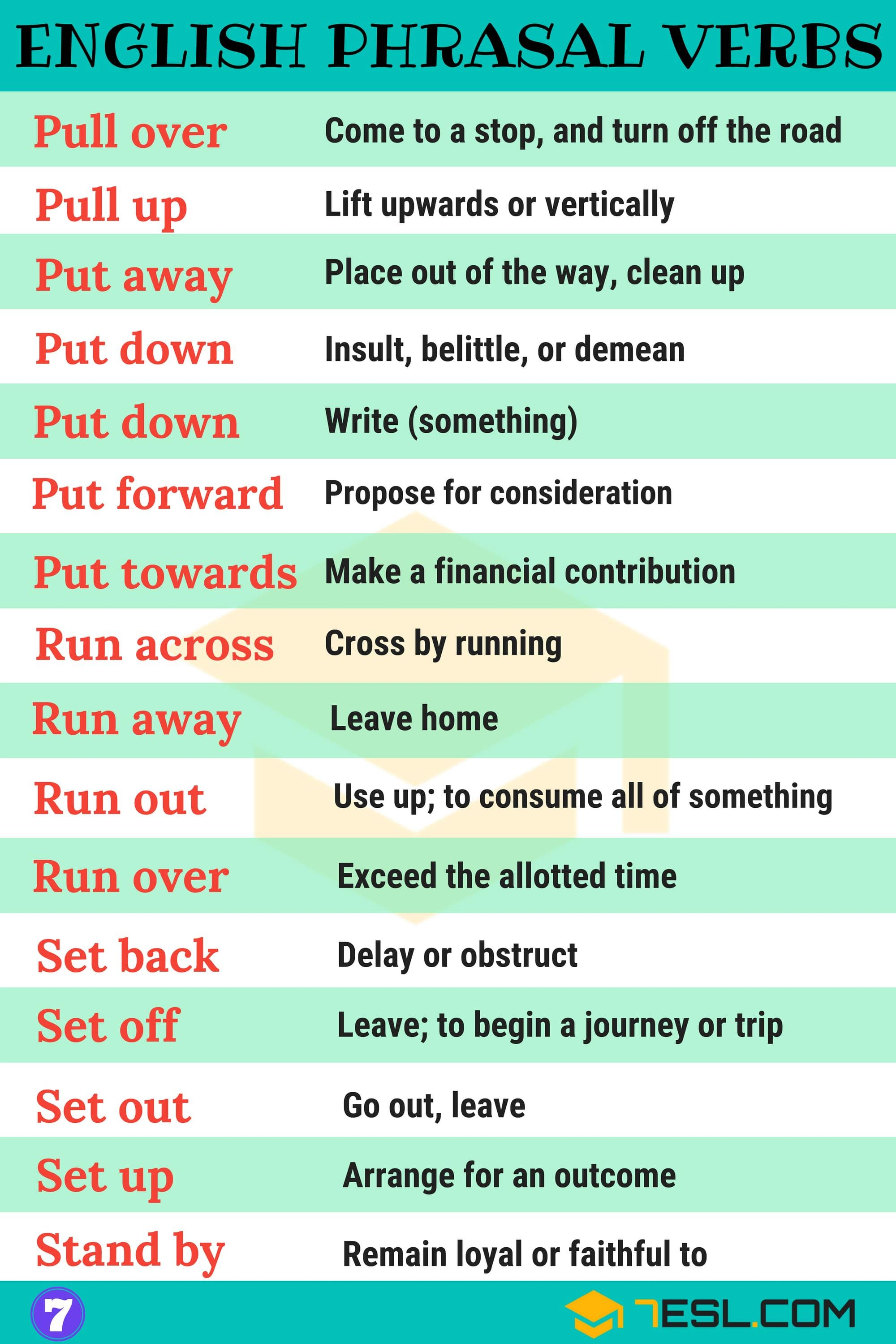 2000 Phrasal Verbs List From A Z To Sound Like A Native 7esl English Verbs English Idioms Learn English Vocabulary [ 3000 x 2000 Pixel ]