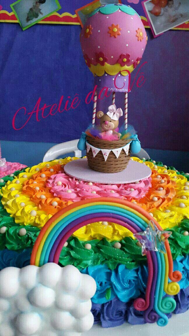 Topo de bolo ursinha balão e arco íris