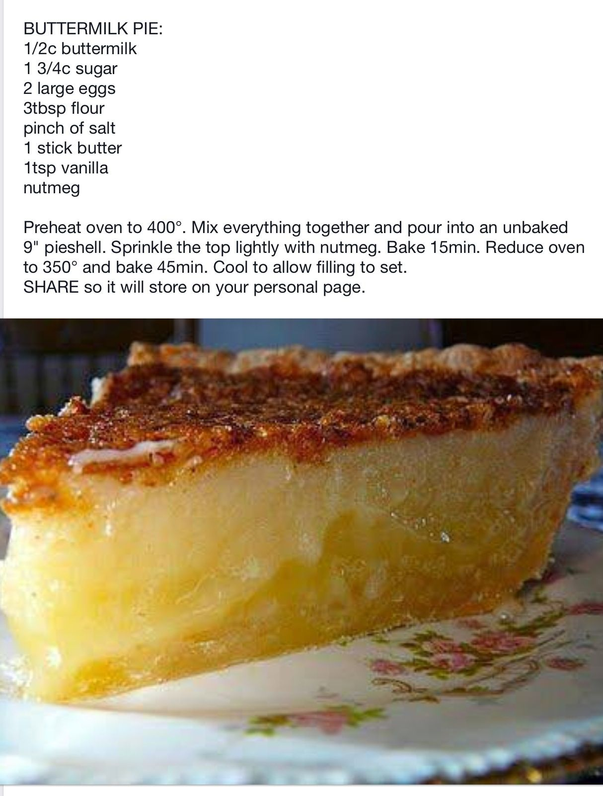 Buttermilk Pie Southern Buttermilk Pie Buttermilk Pie Recipe Recipes