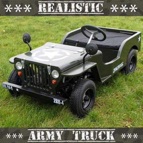Premium 110cc Realistic Off Road Petrol Kids Army Jeep Boys Crimbo