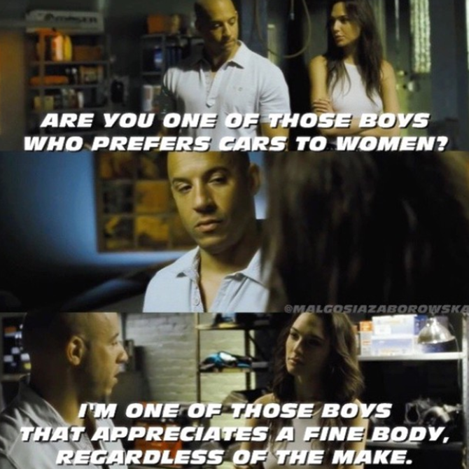 Dominic Toretto & Gisele Yashar (Vin Diesel & Gal Gadot) | Fast and furious,  Fast furious 4, How to be single movie