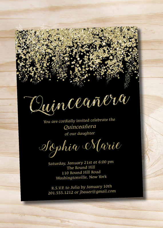 Gold Glitter Quinceanera Quince Sweet 16 Birthday Invitation