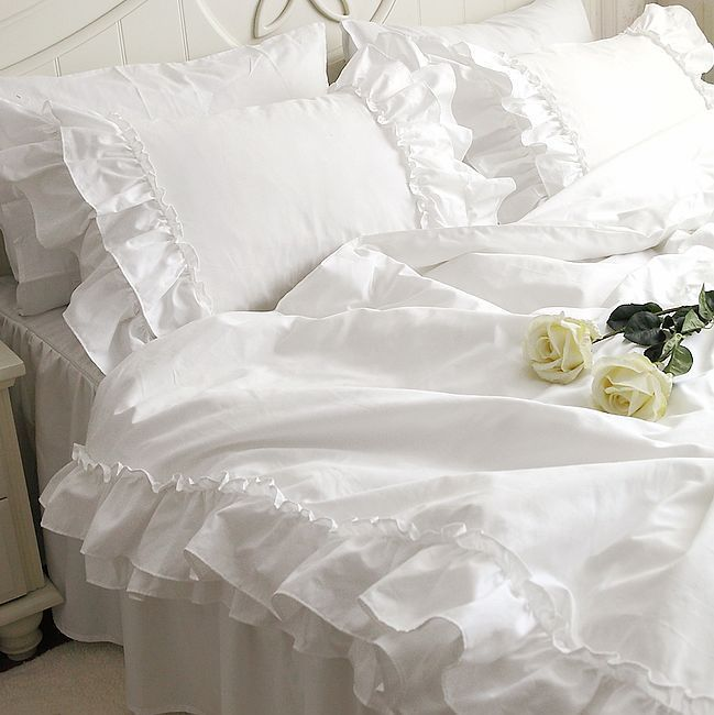 Wholesale Product Snapshot Product name is Romantic white falbala ruffle lace bedding sets/princess duvet cover set,solid color comforter se...