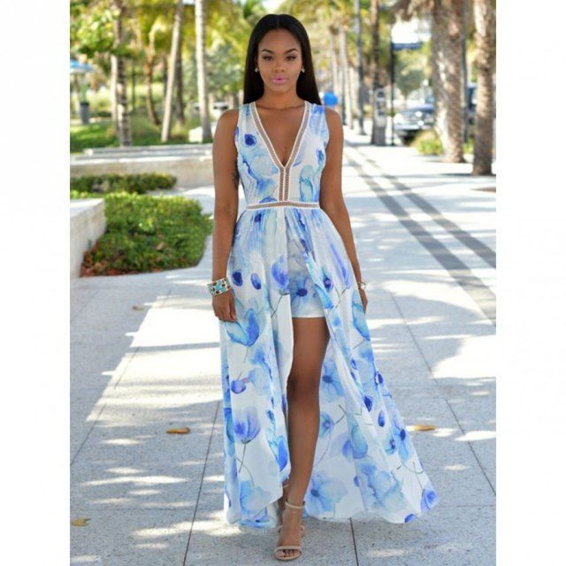 1c2d8596e59 Add the perfect touch of feminine and casual to your vacation look by  wearing this sexy printing sleeveless V-neck slit casual dress .