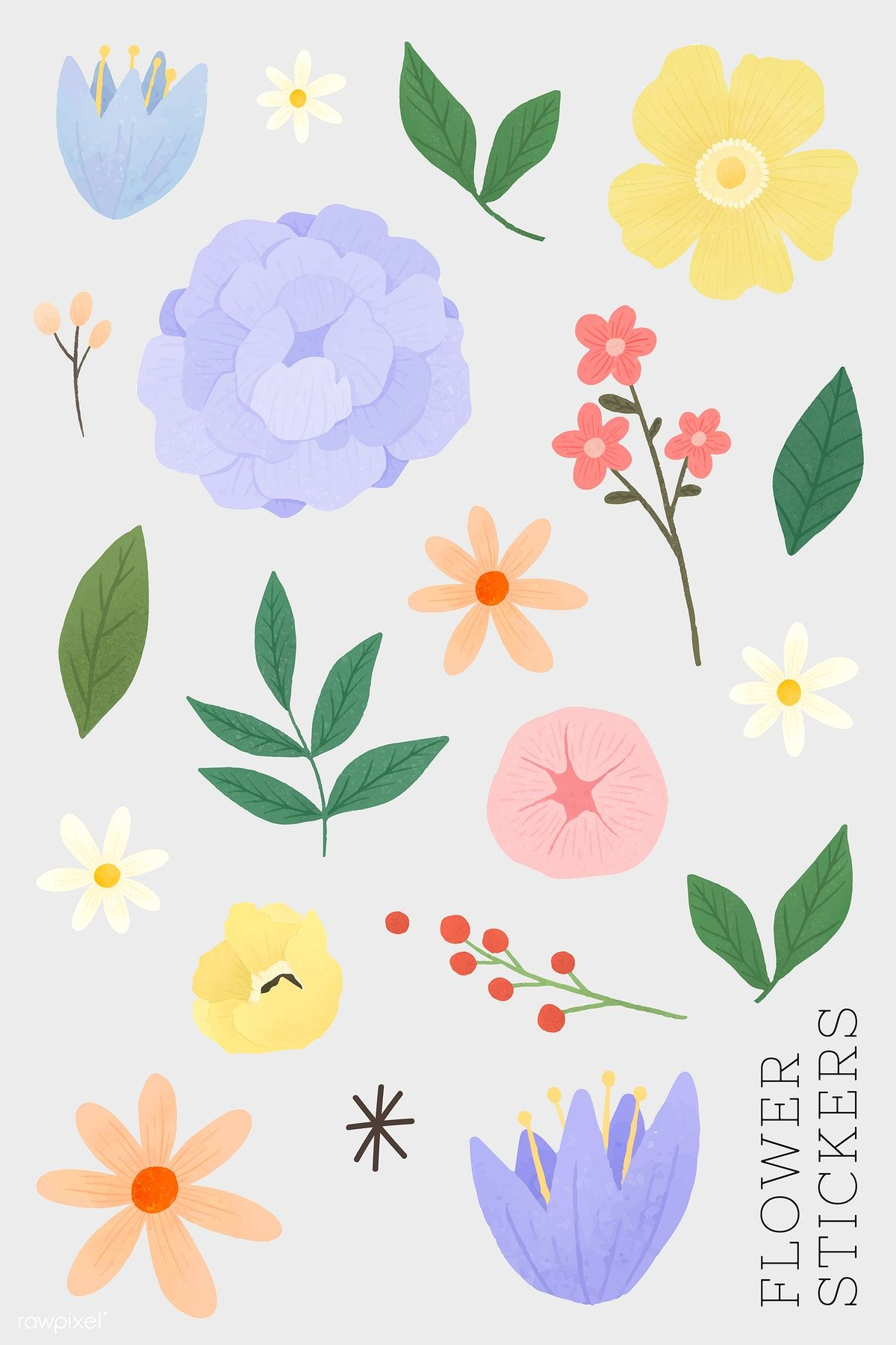 Download premium vector of Flower and leaf stickers set vector ...