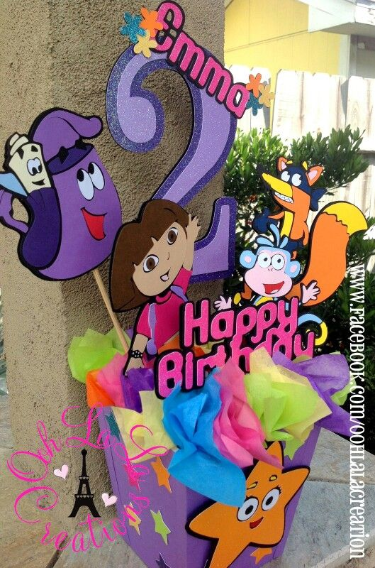 Dora theme Party Centerpiece Dora theme Party Decor Pinterest
