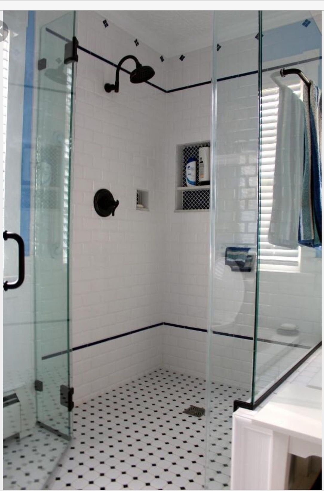 Double Liner Tile Black And White Tiles Bathroom White Bathroom Tiles Classic Bathroom Tile