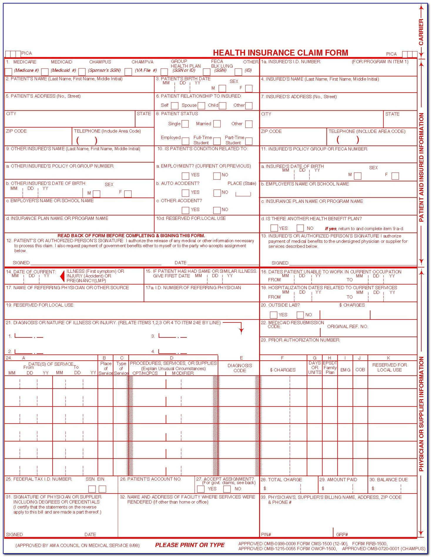 Pin On 1000 Examples Online Form Templates Free fillable cms 1500 template