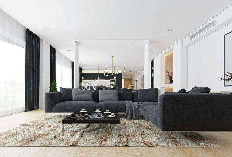Wohnzimmer mit minimalistischer Einrichtung in Beige und Grau - wohnzimmer einrichten grau schwarz