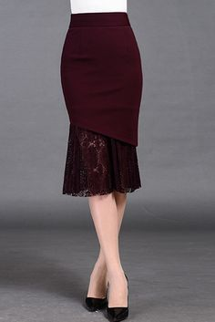 Burgundy Mermaid Midi Skirt