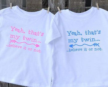 ac6601fbda9 Twin shirt set. Funny twins t shirts say Yeah