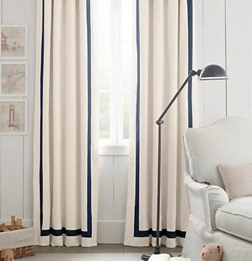 Pair Two 50w Panels Grosgrain Ribbon Trim Linen Curtains